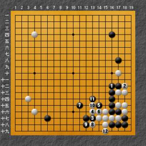 攻め合い白勝ちの図