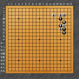 これは置き碁で良く打たれる基本定石。