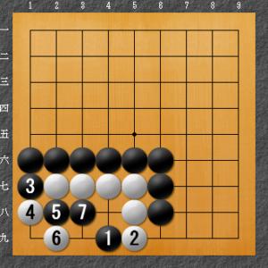 囲碁、隅の基本死活、8目型左下がり解答図