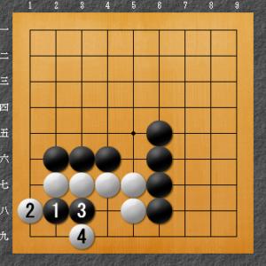 囲碁、隅の基本死活、8目型ダメ空き解答図1