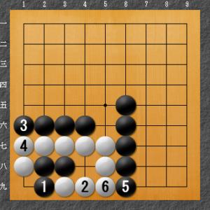 囲碁、隅の基本死活、8目型ダメ空き解答図2