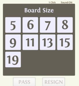 囲碁対局ゲームCosumiの碁盤選択画面