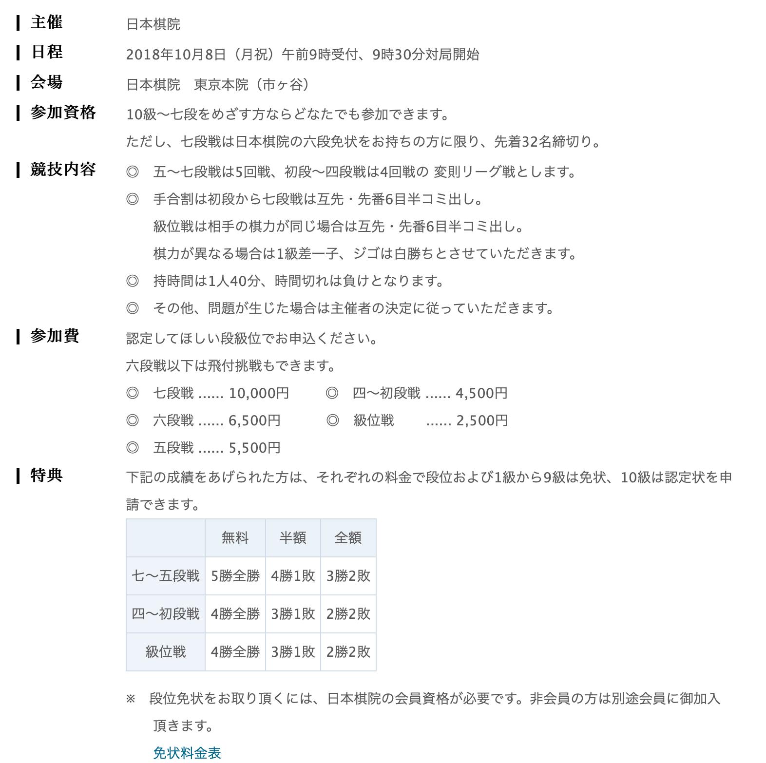 日本棋院段級位認定大会